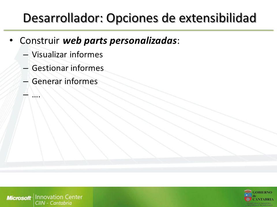 Desarrollador: Opciones de extensibilidad
