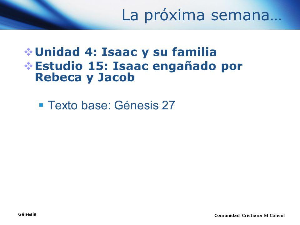 La próxima semana… Texto base: Génesis 27 Unidad 4: Isaac y su familia