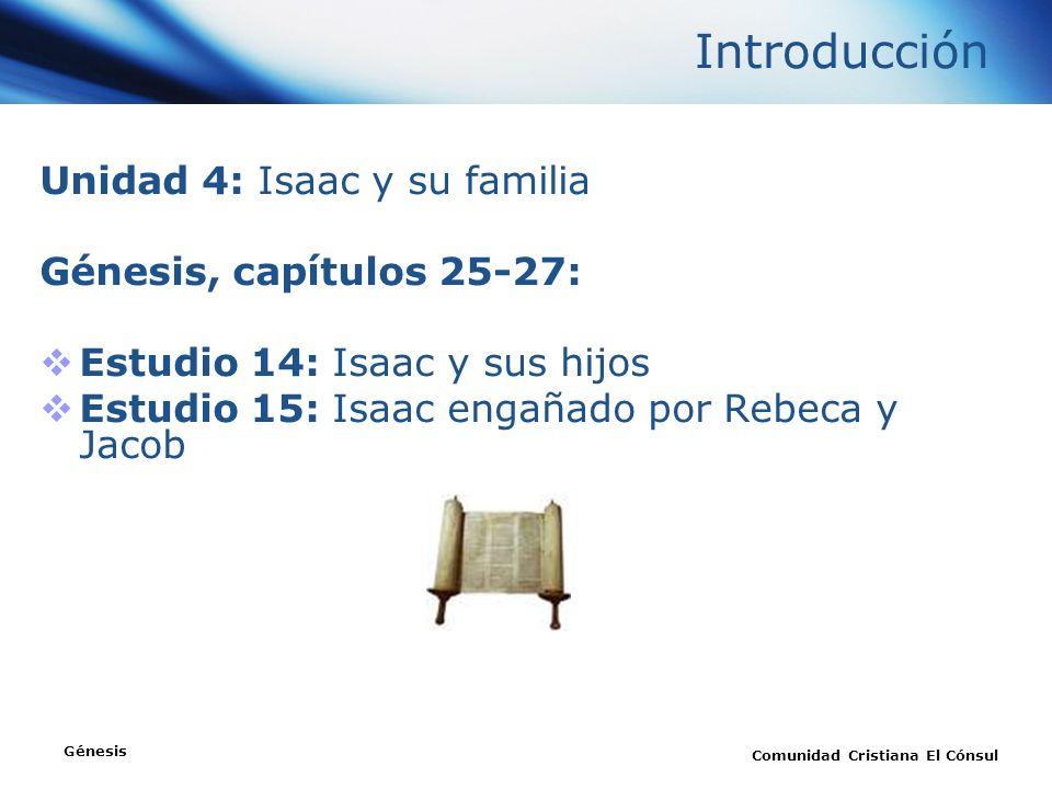 Introducción Unidad 4: Isaac y su familia Génesis, capítulos 25-27: