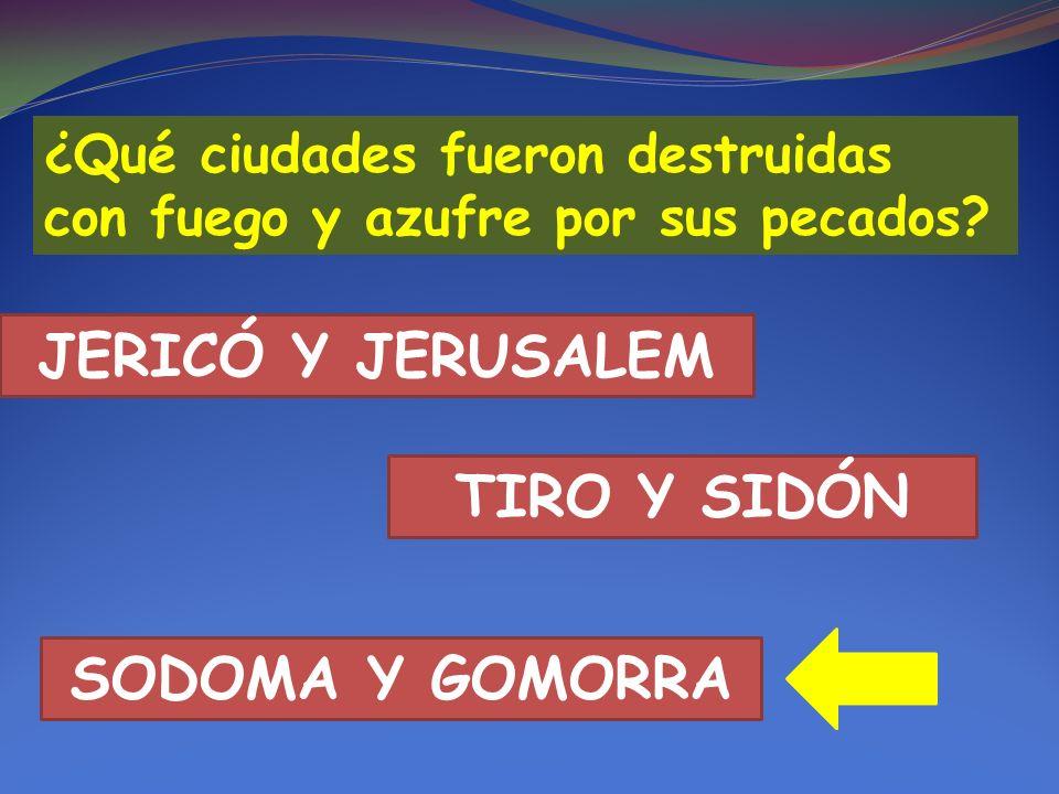 JERICÓ Y JERUSALEM TIRO Y SIDÓN SODOMA Y GOMORRA