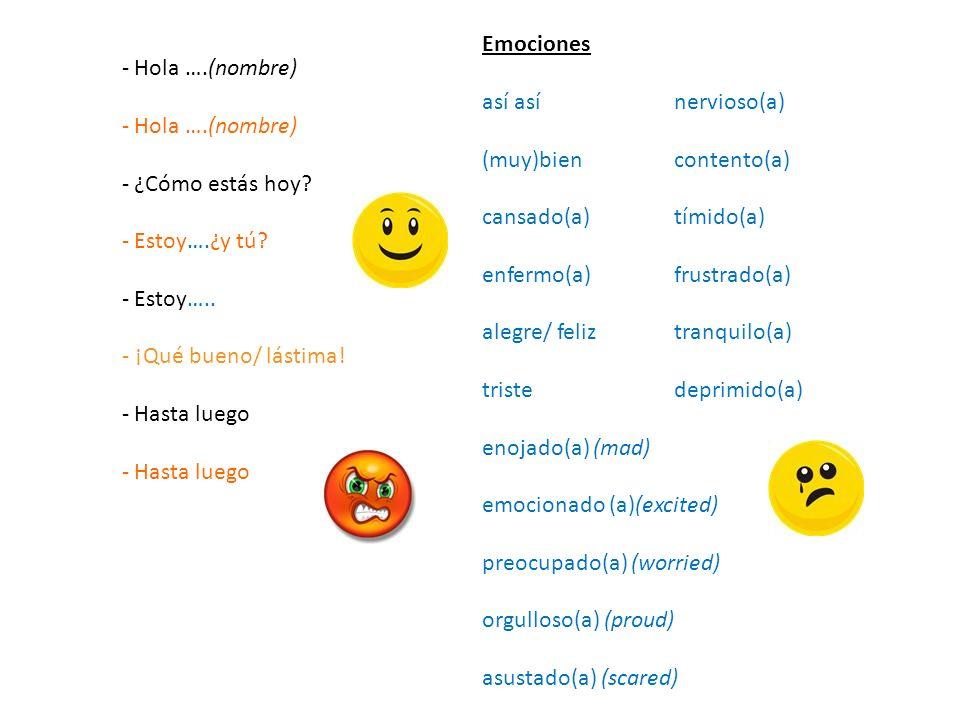 Emociones así así nervioso(a) (muy)bien contento(a) cansado(a) tímido(a) enfermo(a) frustrado(a)