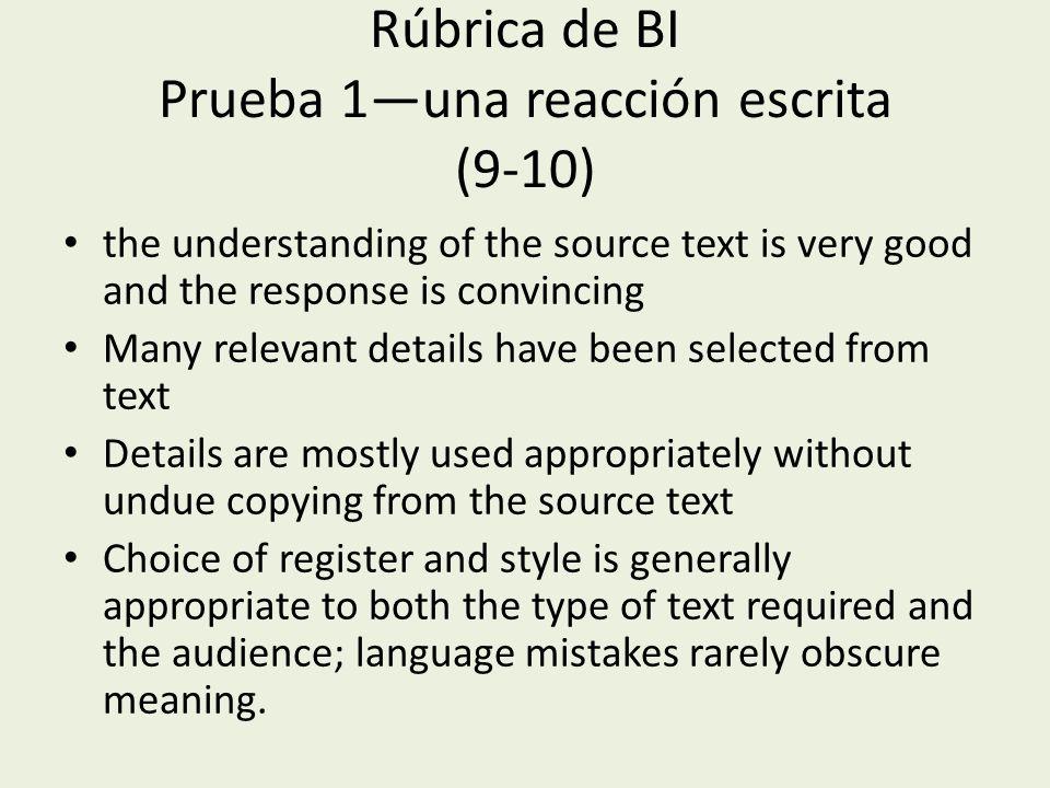Rúbrica de BI Prueba 1—una reacción escrita (9-10)