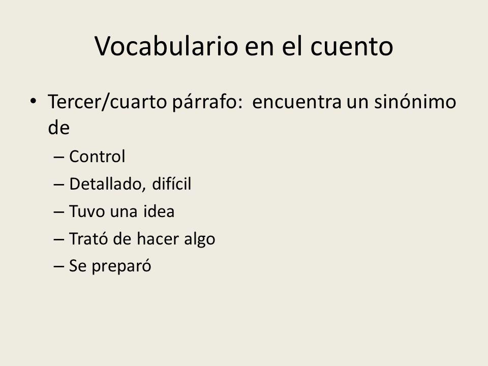 Vocabulario en el cuento