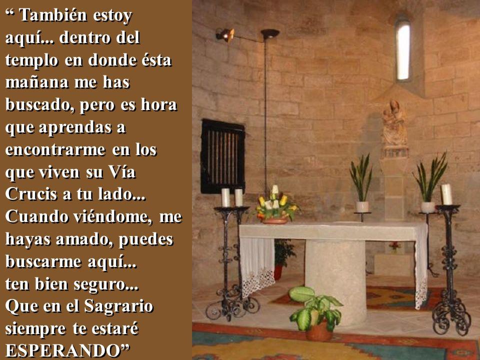 También estoy aquí... dentro del templo en donde ésta mañana me has buscado, pero es hora que aprendas a encontrarme en los que viven su Vía Crucis a tu lado...