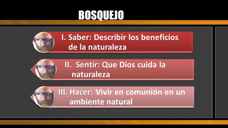 BOSQUEJO I. Saber: Describir los beneficios de la naturaleza