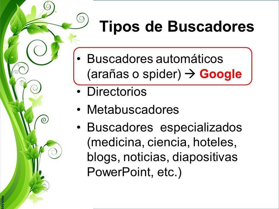 Tipos de Buscadores Buscadores automáticos (arañas o spider)  Google