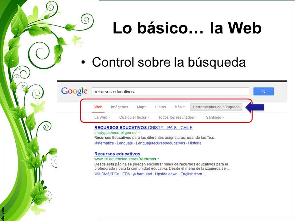 Lo básico… la Web Control sobre la búsqueda