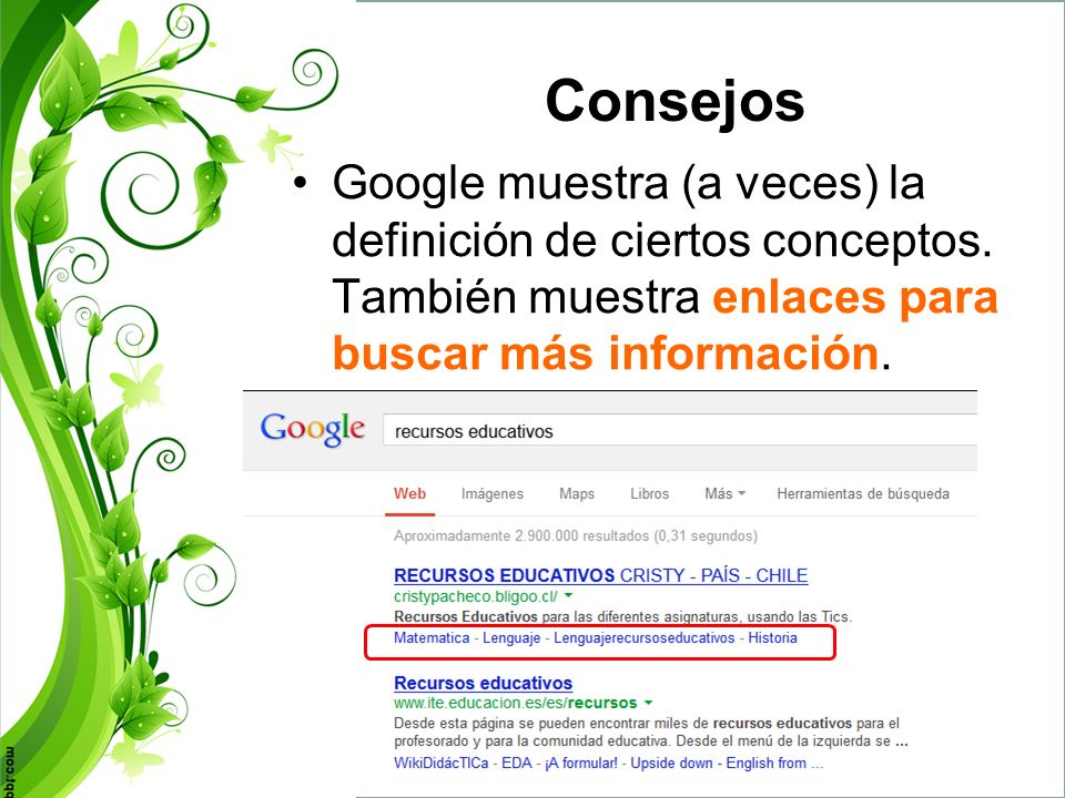 Consejos Google muestra (a veces) la definición de ciertos conceptos.