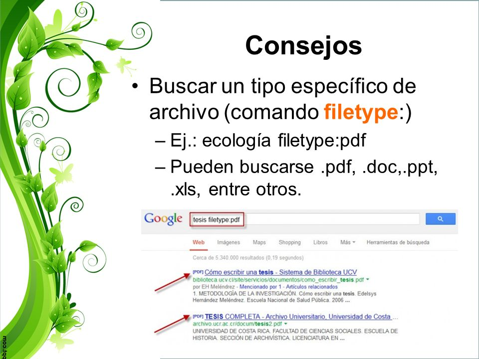 Consejos Buscar un tipo específico de archivo (comando filetype:)