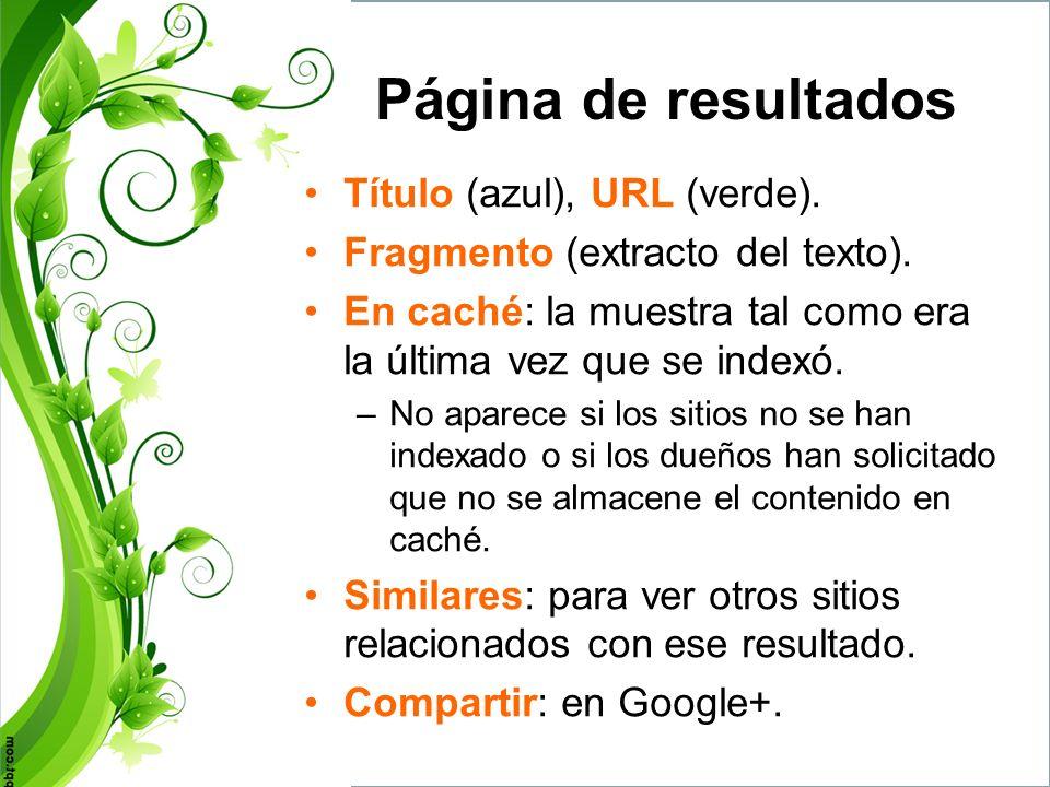 Página de resultados Título (azul), URL (verde).