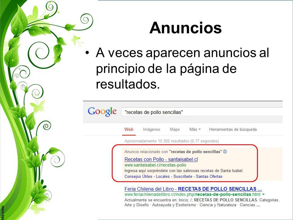 Anuncios A veces aparecen anuncios al principio de la página de resultados.