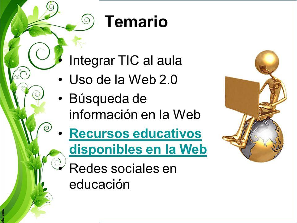 Temario Integrar TIC al aula Uso de la Web 2.0