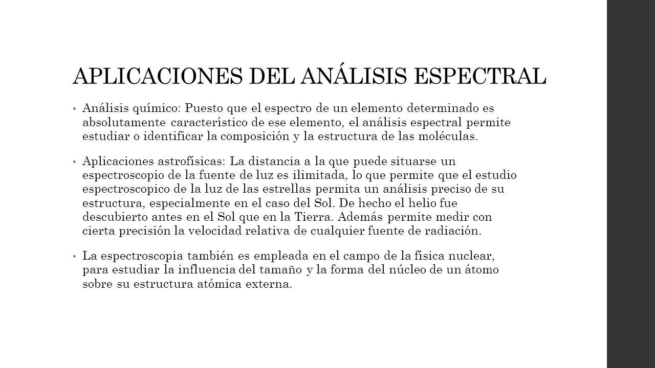 APLICACIONES DEL ANÁLISIS ESPECTRAL