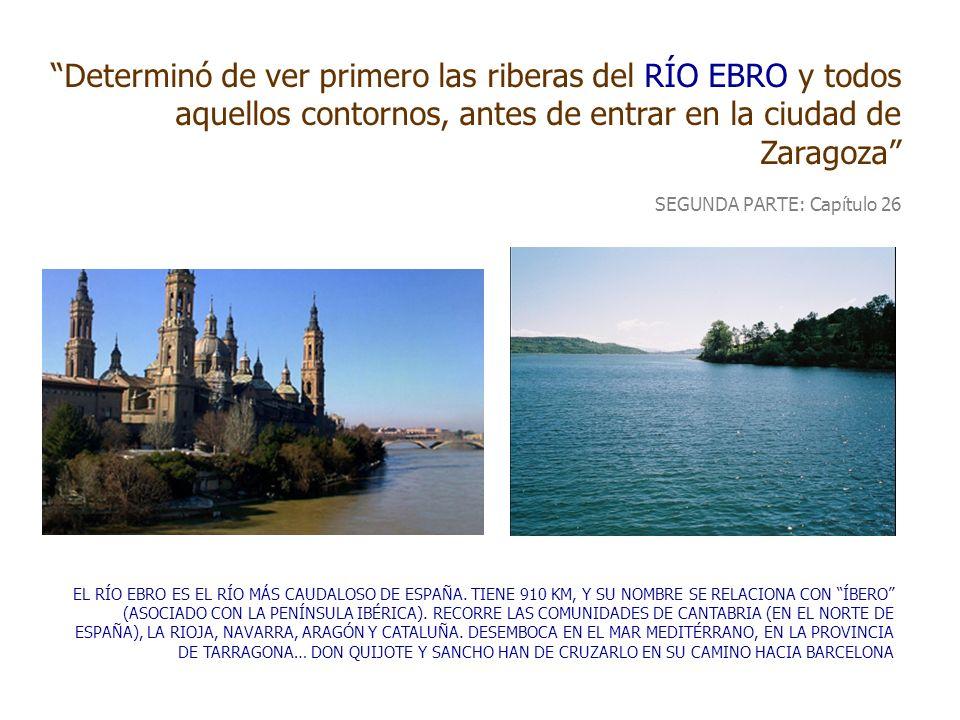 Determinó de ver primero las riberas del RÍO EBRO y todos aquellos contornos, antes de entrar en la ciudad de Zaragoza