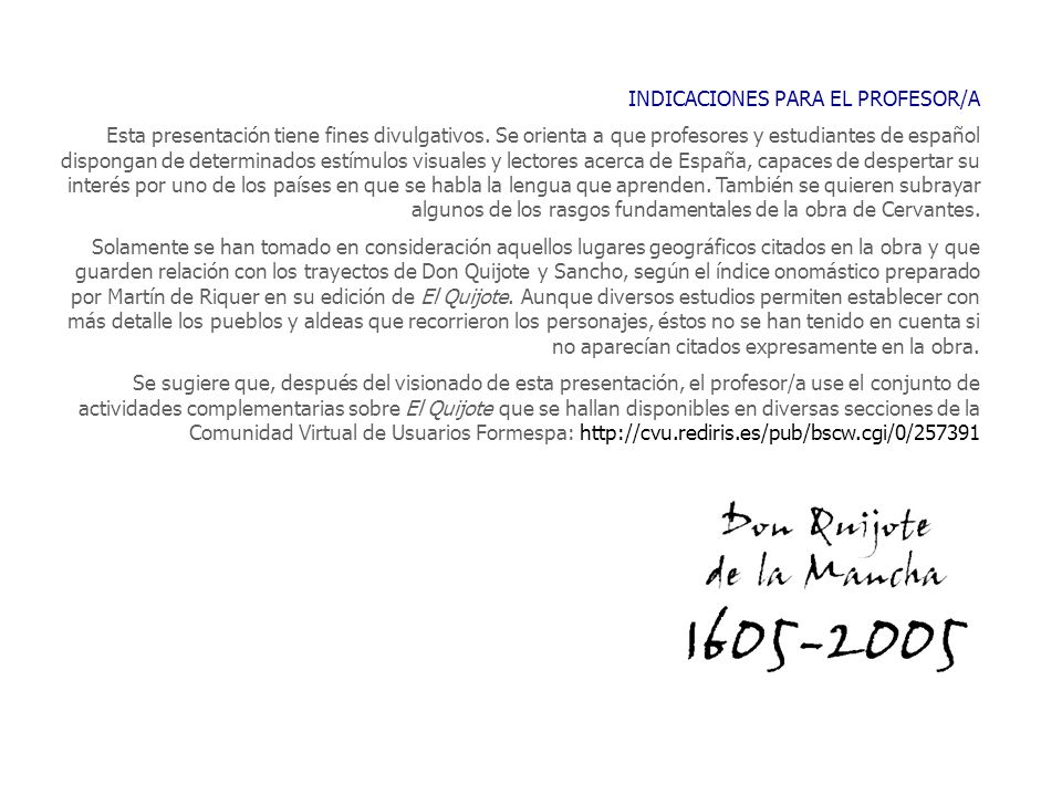 INDICACIONES PARA EL PROFESOR/A