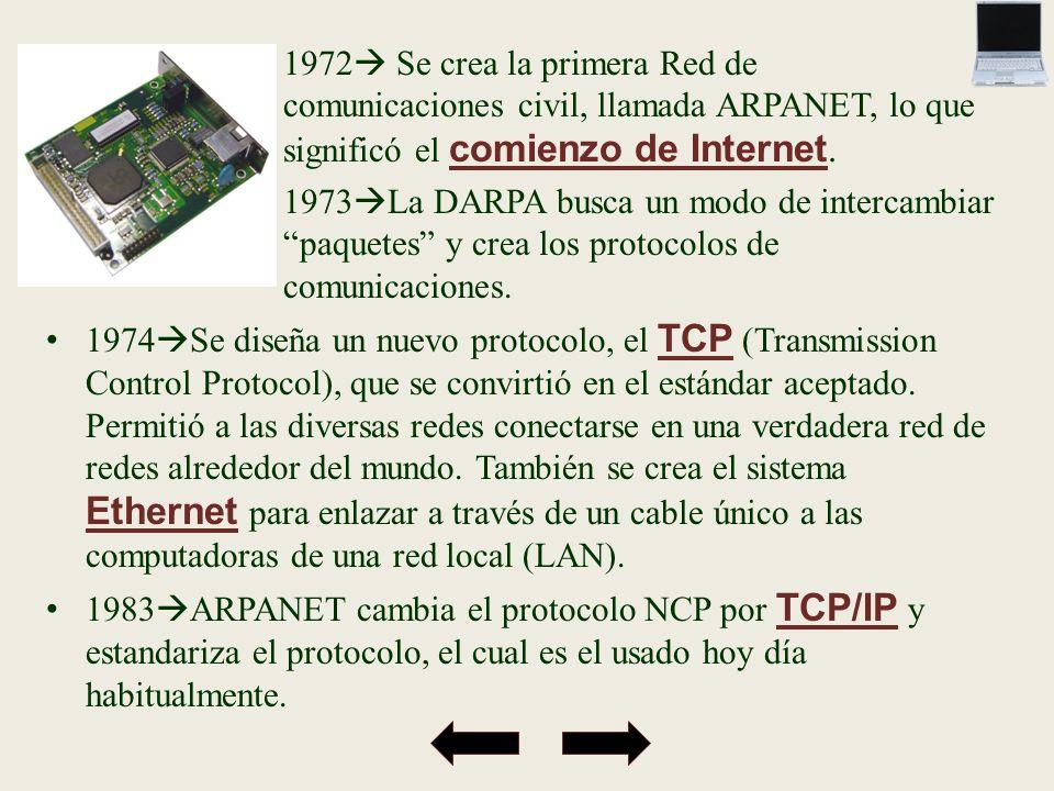 1972 Se crea la primera Red de comunicaciones civil, llamada ARPANET, lo que significó el comienzo de Internet.