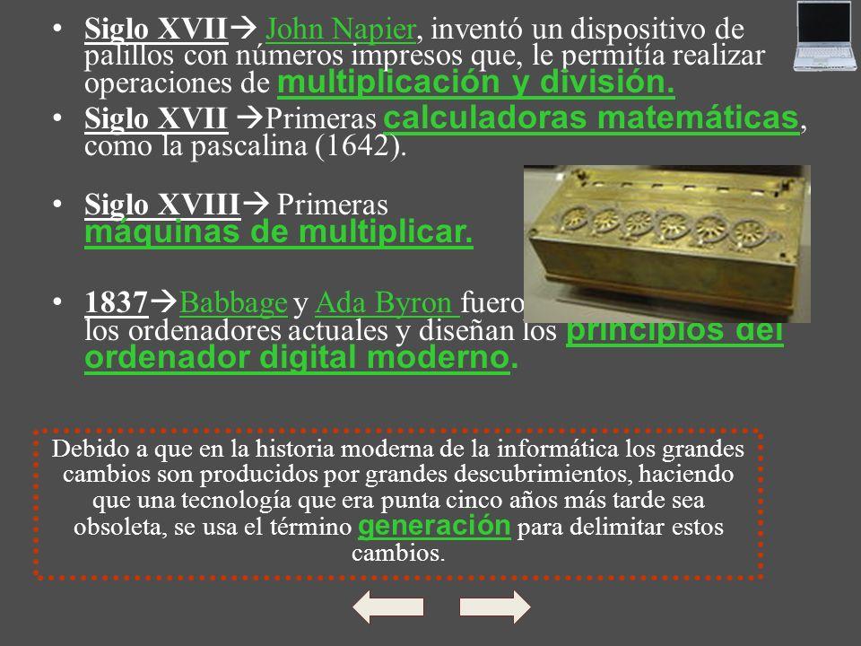 Siglo XVIII Primeras máquinas de multiplicar.