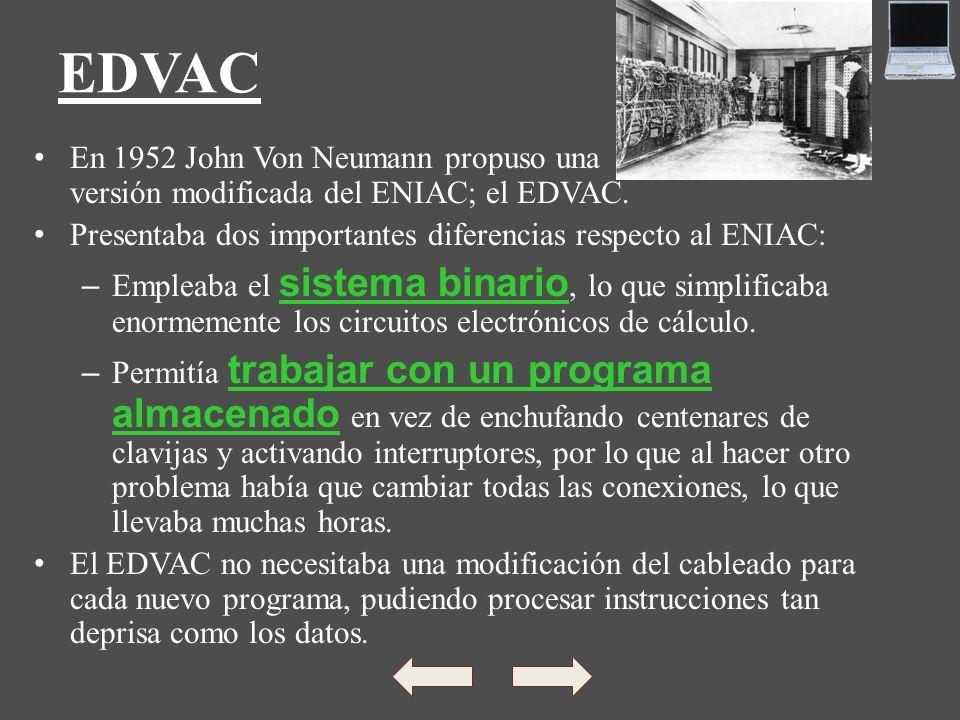 EDVAC En 1952 John Von Neumann propuso una versión modificada del ENIAC; el EDVAC.
