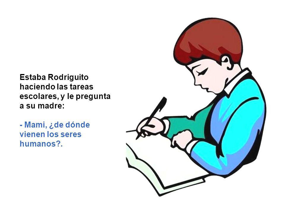 Estaba Rodriguito haciendo las tareas escolares, y le pregunta a su madre: