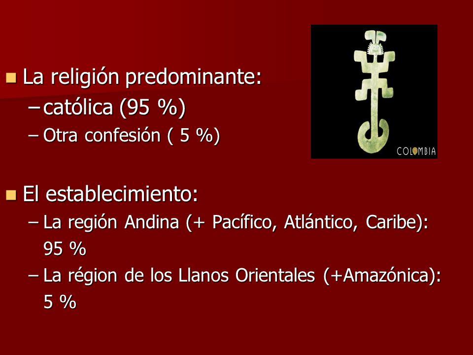 La religión predominante: católica (95 %)