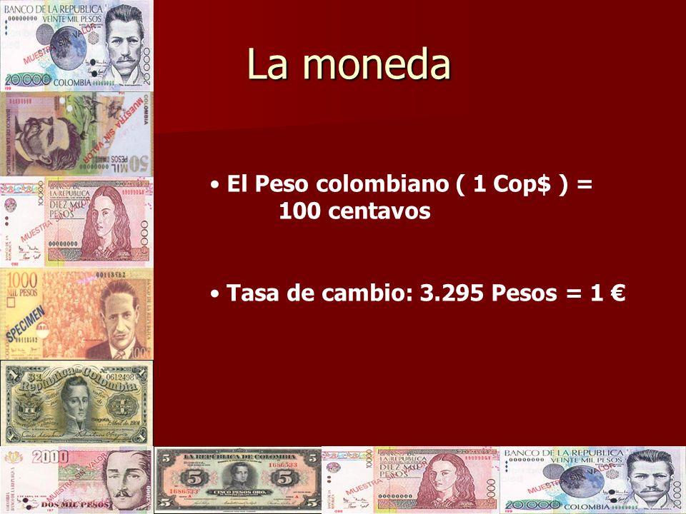 La moneda El Peso colombiano ( 1 Cop$ ) = 100 centavos