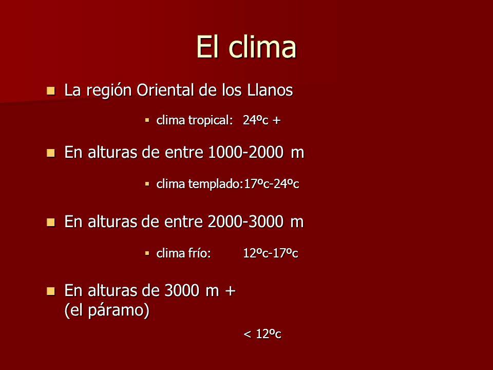 El clima < 12ºc La región Oriental de los Llanos