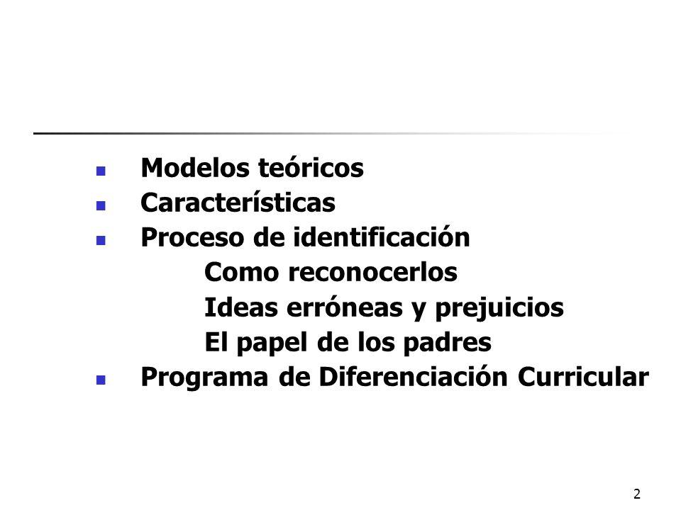 Modelos teóricosCaracterísticas. Proceso de identificación. Como reconocerlos. Ideas erróneas y prejuicios.