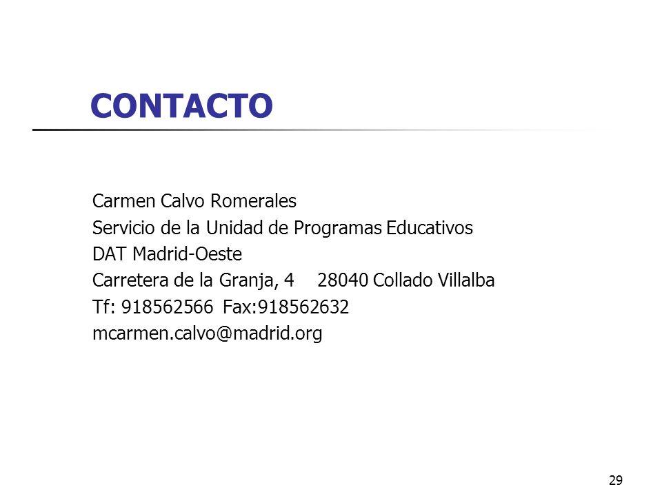 CONTACTO Carmen Calvo Romerales