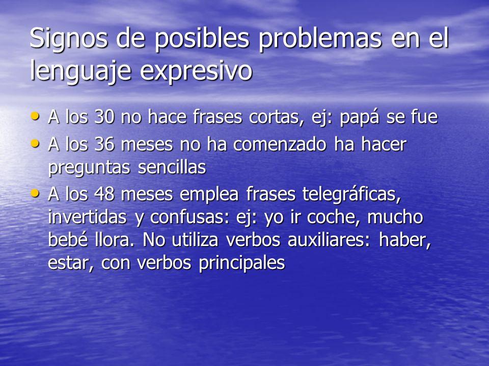 Signos de posibles problemas en el lenguaje expresivo