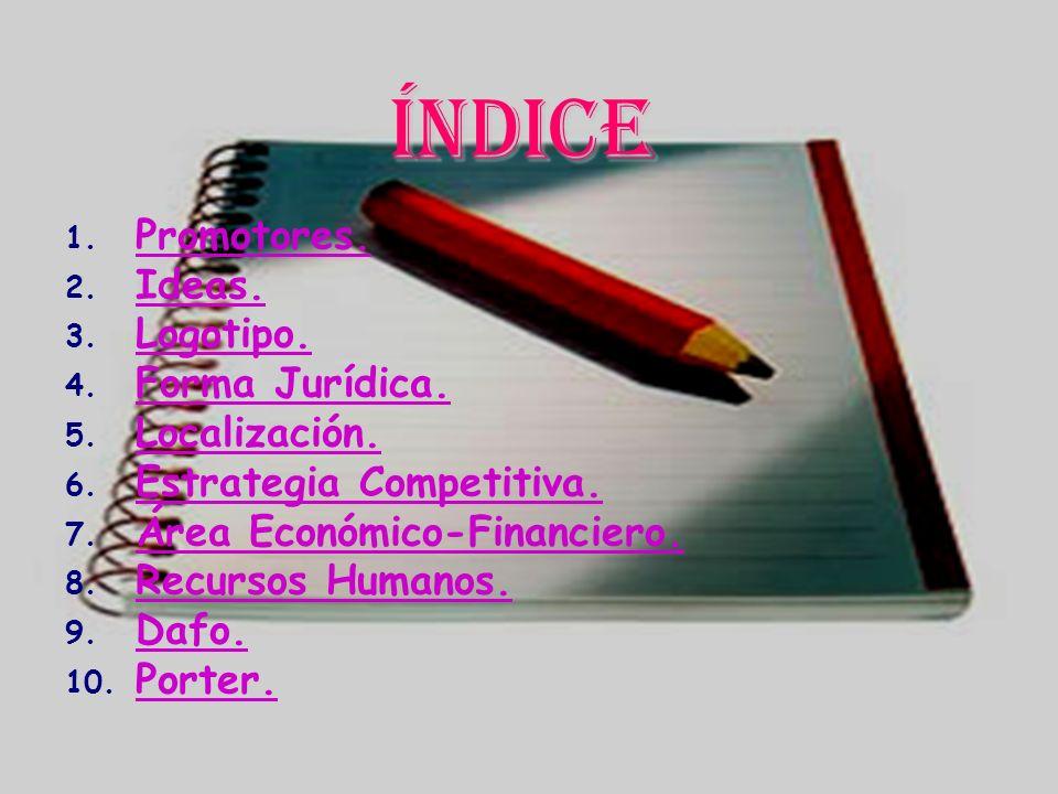 Índice Promotores. Ideas. Logotipo. Forma Jurídica. Localización.