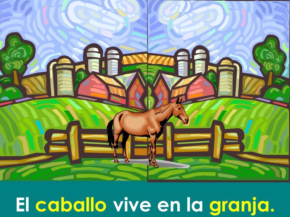 El caballo vive en la granja.