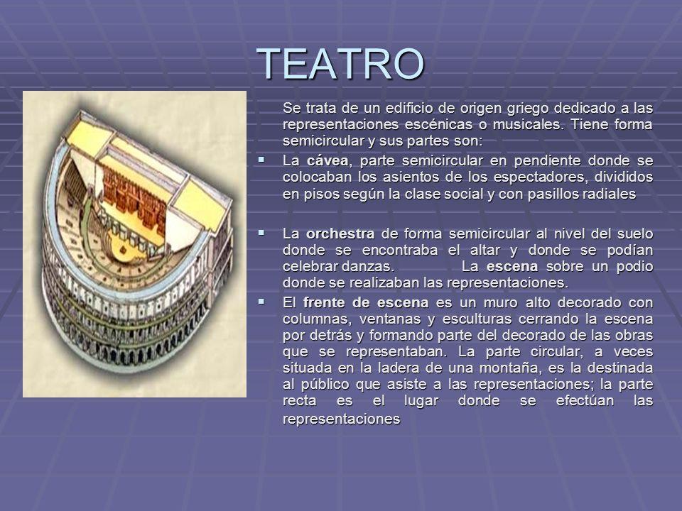 TEATRO Se trata de un edificio de origen griego dedicado a las representaciones escénicas o musicales. Tiene forma semicircular y sus partes son: