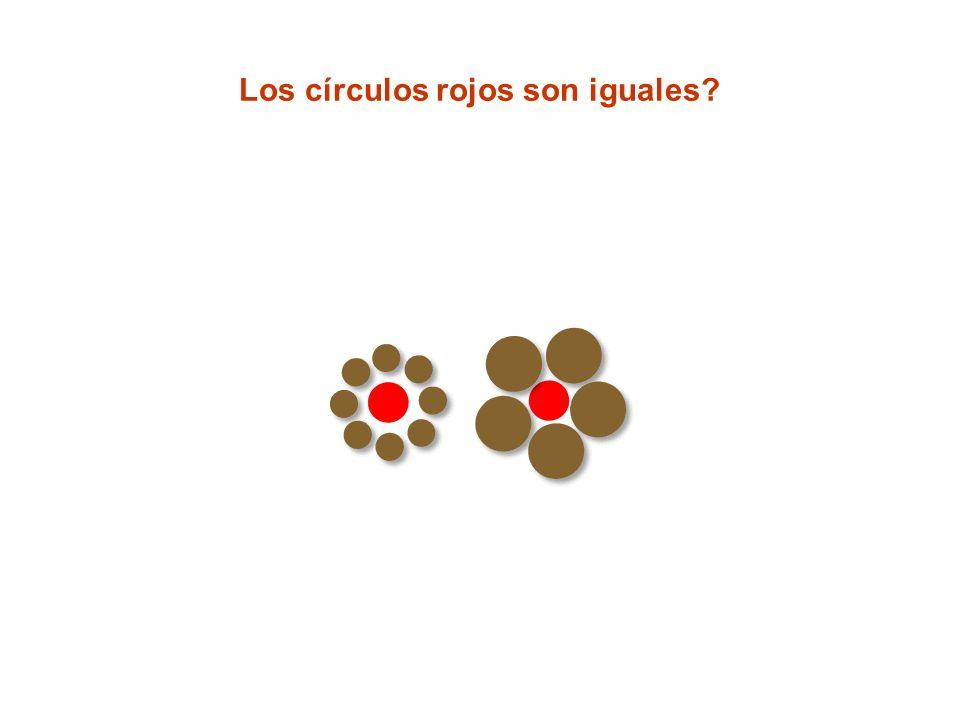 Los círculos rojos son iguales