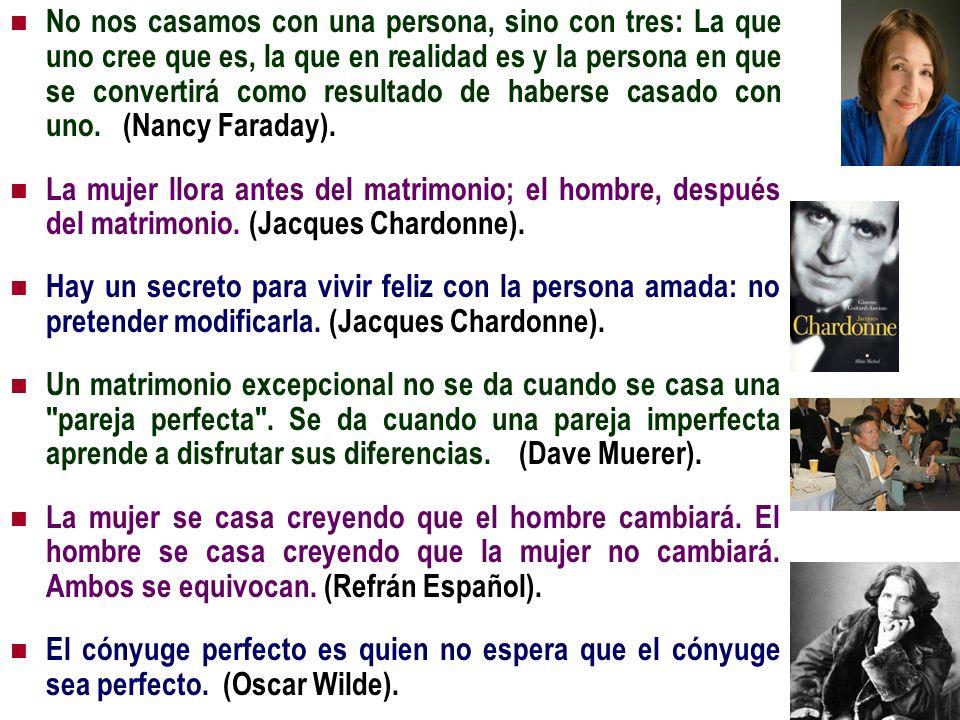 No nos casamos con una persona, sino con tres: La que uno cree que es, la que en realidad es y la persona en que se convertirá como resultado de haberse casado con uno. (Nancy Faraday).