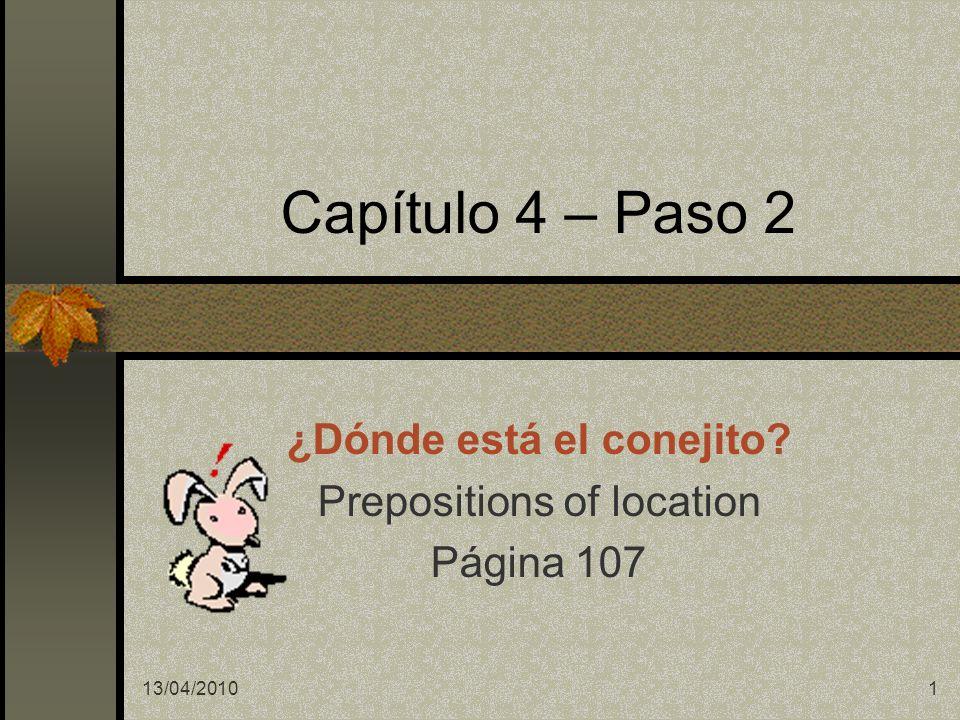 Español 1 -- Capítulo 4 - Segundo Paso