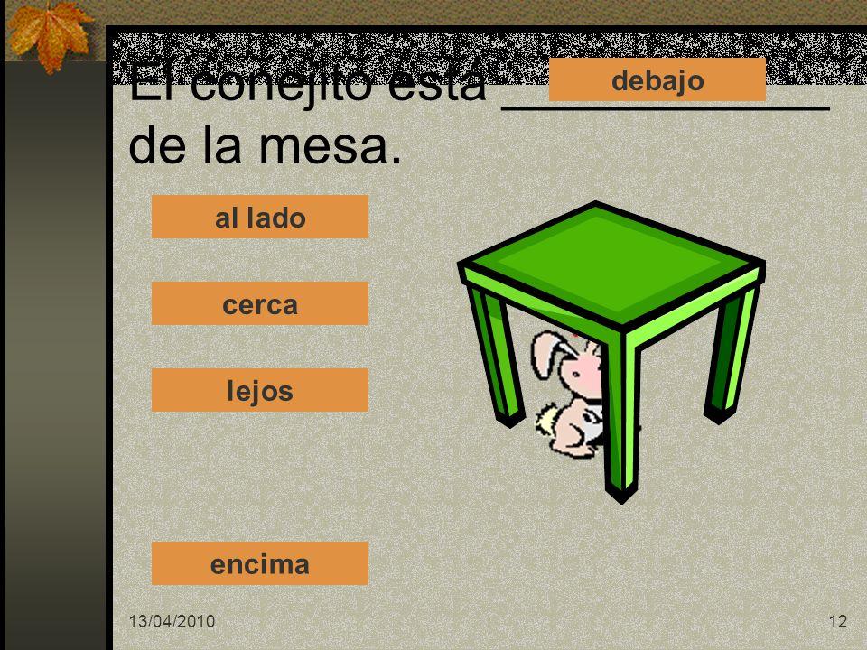 El conejito está ___________ de la mesa.