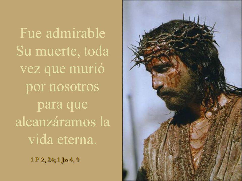 Fue admirable Su muerte, toda vez que murió por nosotros para que alcanzáramos la vida eterna.