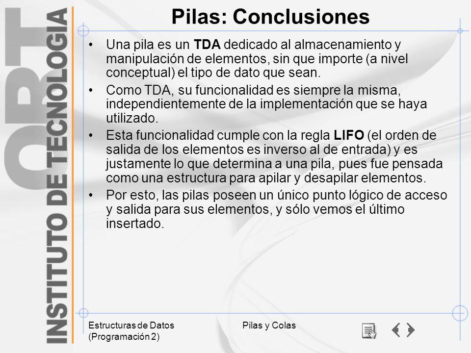 Pilas: Conclusiones