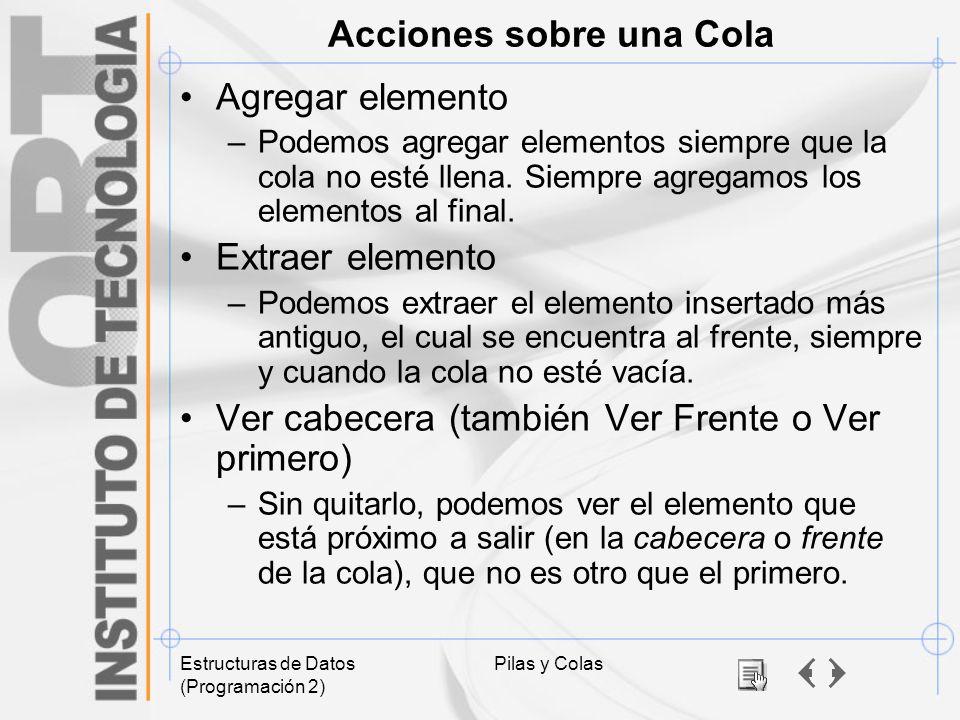 Acciones sobre una Cola