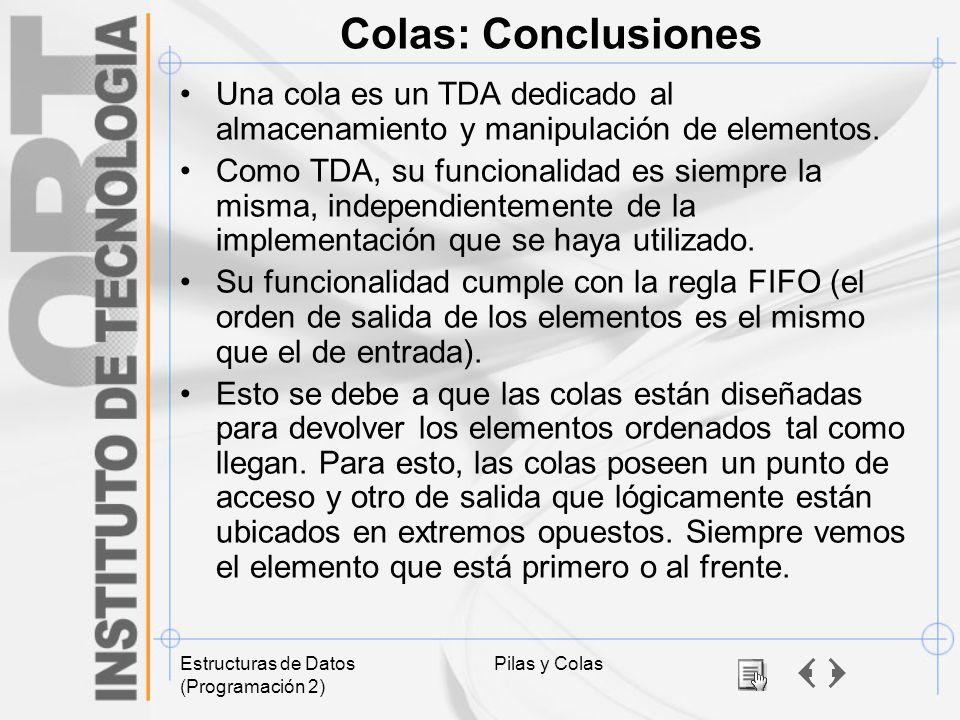 Colas: Conclusiones Una cola es un TDA dedicado al almacenamiento y manipulación de elementos.