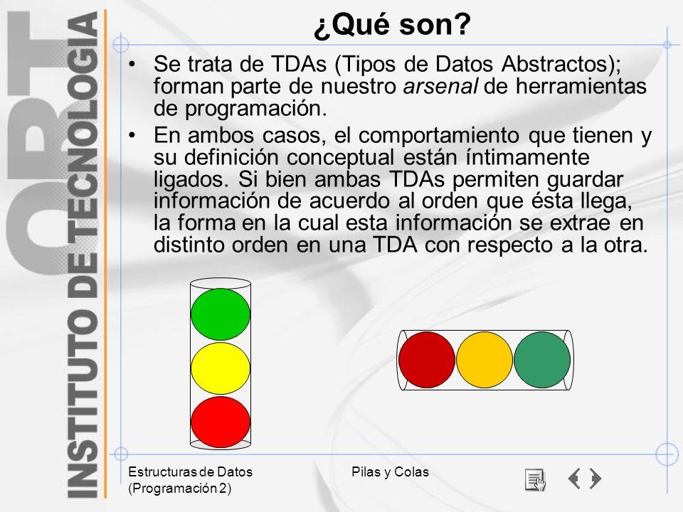 ¿Qué son Se trata de TDAs (Tipos de Datos Abstractos); forman parte de nuestro arsenal de herramientas de programación.