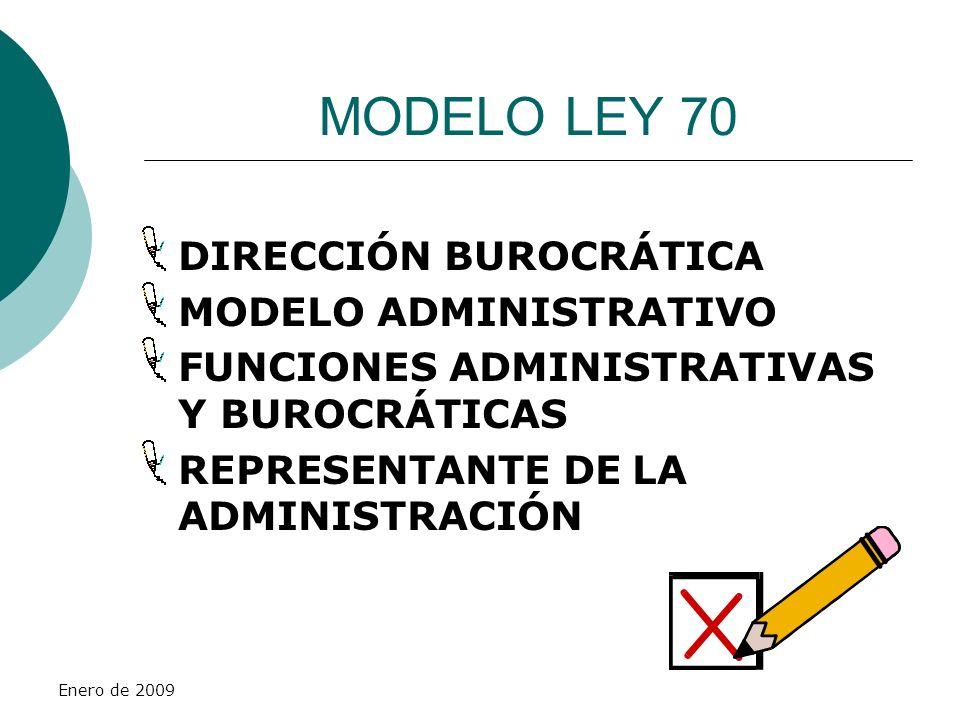 MODELO LEY 70 DIRECCIÓN BUROCRÁTICA MODELO ADMINISTRATIVO