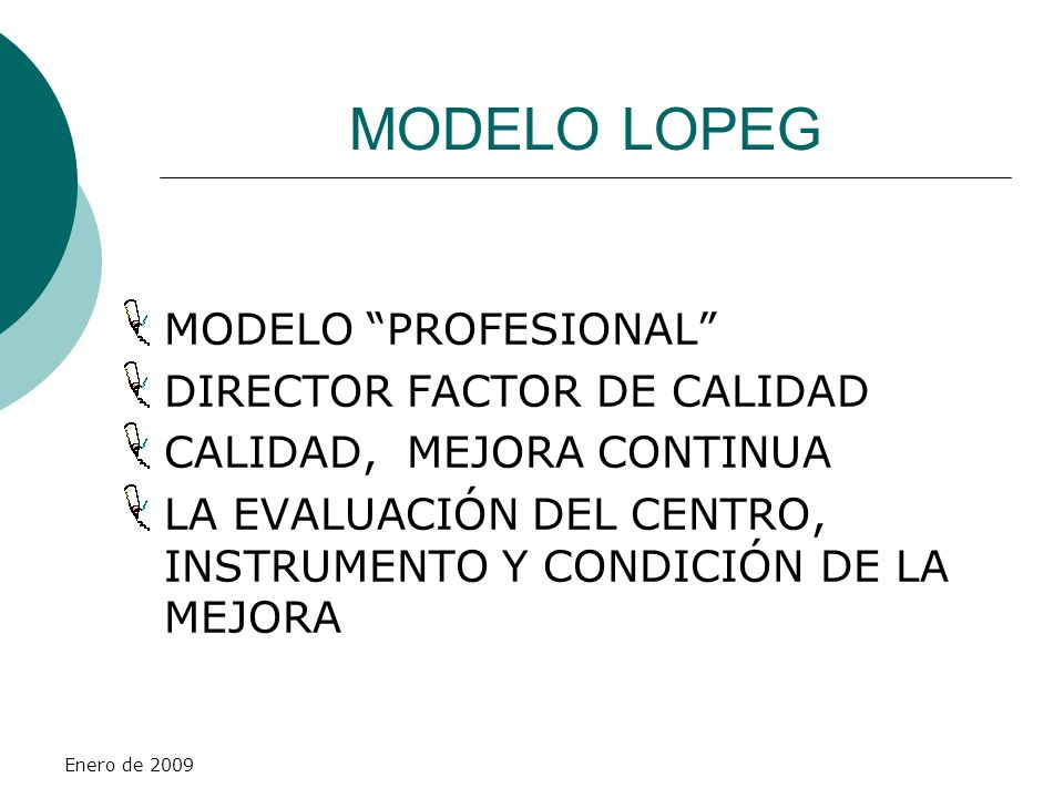 MODELO LOPEG MODELO PROFESIONAL DIRECTOR FACTOR DE CALIDAD