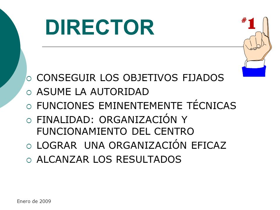 DIRECTOR CONSEGUIR LOS OBJETIVOS FIJADOS ASUME LA AUTORIDAD
