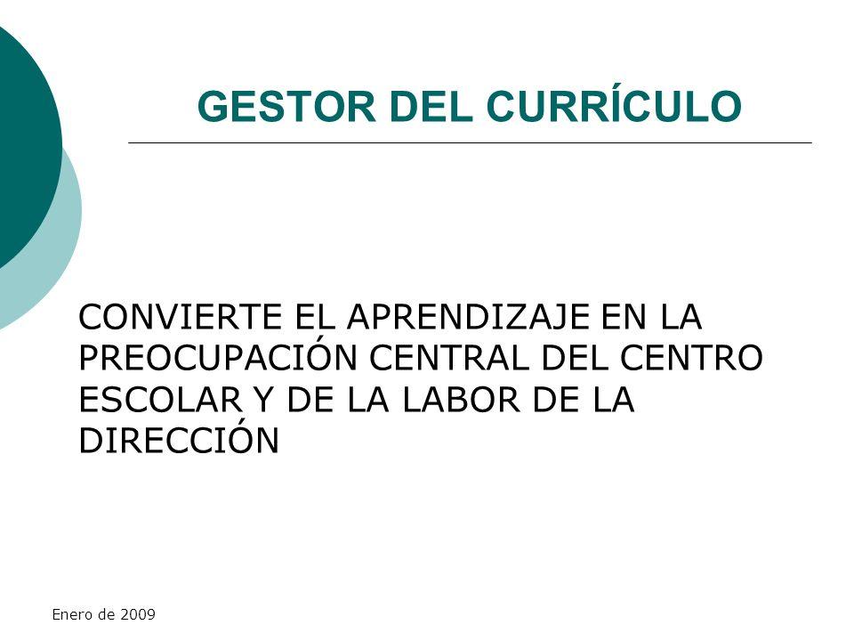 GESTOR DEL CURRÍCULO CONVIERTE EL APRENDIZAJE EN LA PREOCUPACIÓN CENTRAL DEL CENTRO ESCOLAR Y DE LA LABOR DE LA DIRECCIÓN.