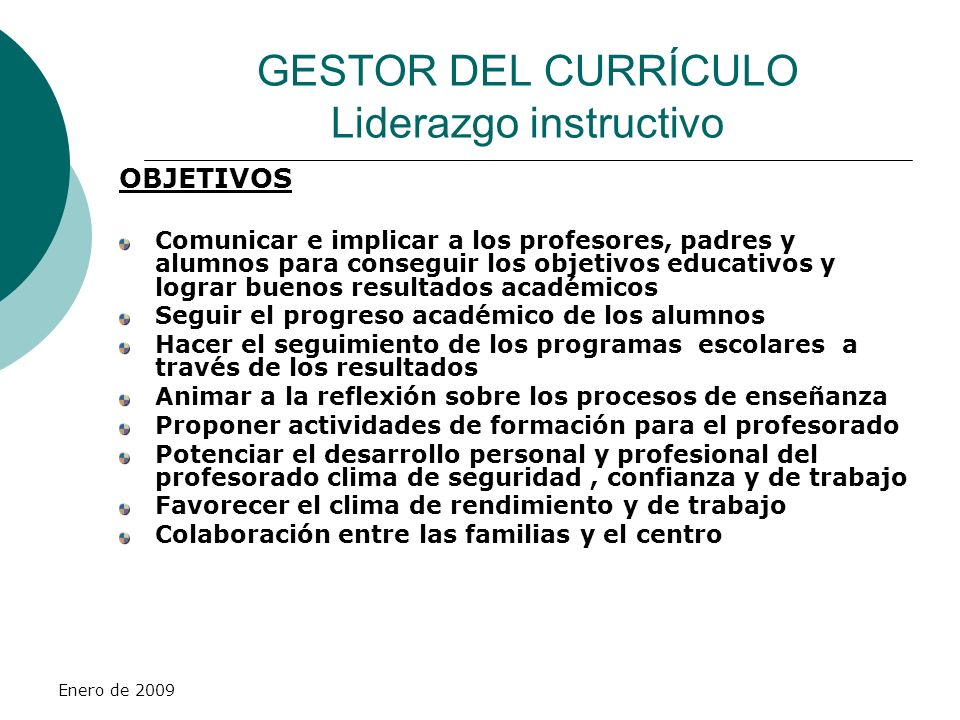 GESTOR DEL CURRÍCULO Liderazgo instructivo