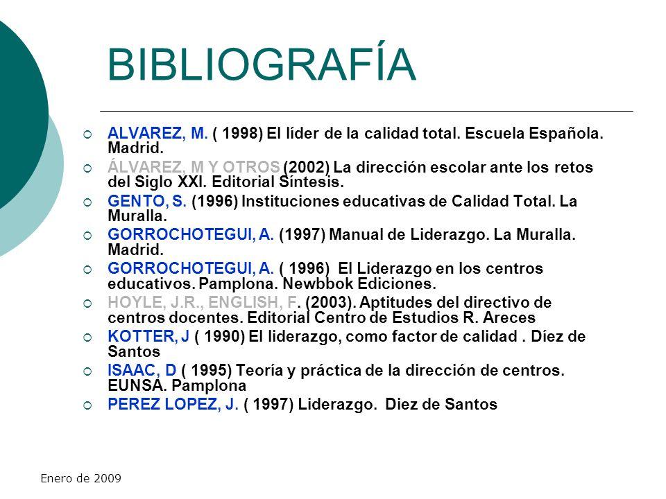 BIBLIOGRAFÍA ALVAREZ, M. ( 1998) El líder de la calidad total. Escuela Española. Madrid.