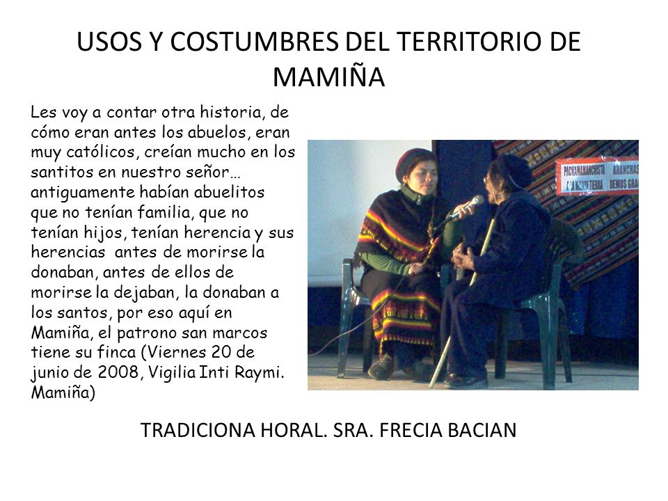 USOS Y COSTUMBRES DEL TERRITORIO DE MAMIÑA