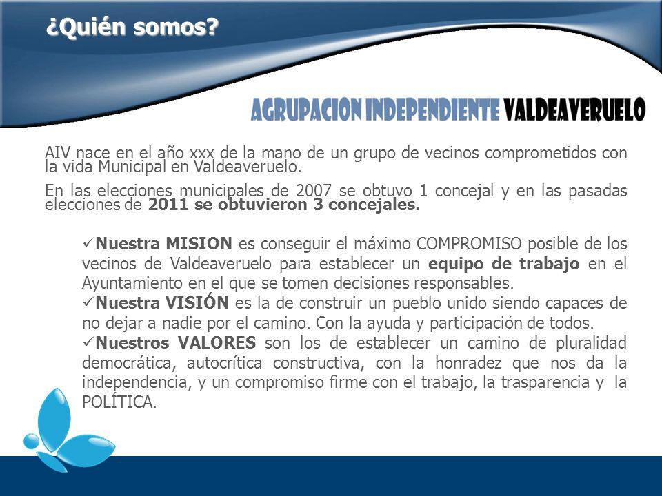 ¿Quién somos AIV nace en el año xxx de la mano de un grupo de vecinos comprometidos con la vida Municipal en Valdeaveruelo.