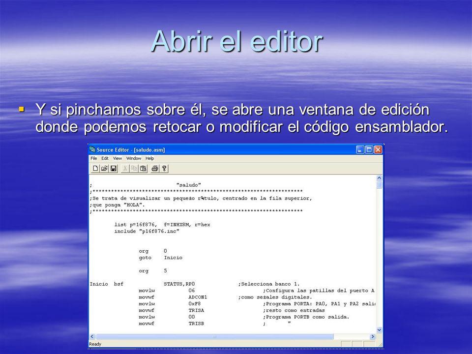 Abrir el editor Y si pinchamos sobre él, se abre una ventana de edición donde podemos retocar o modificar el código ensamblador.
